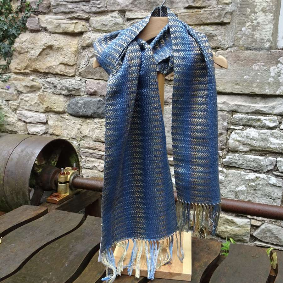 'Silk Waves' Scarf, in Teal/Amber Shades